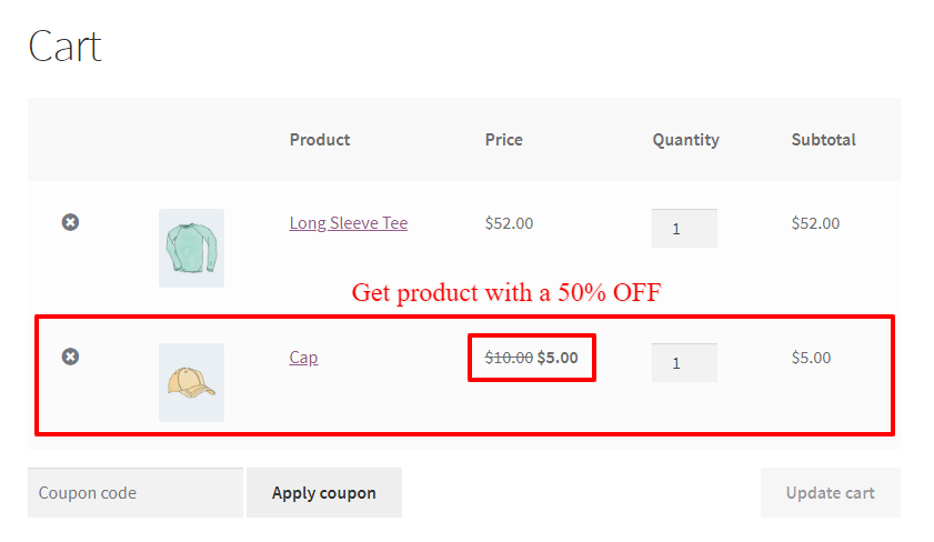 WooCommerce Buy One Get One Half Offer Another Product On Cart With WooCommerce advanced coupons plugin