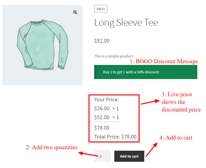 WooCommerce Buy One Get One Half Offer On Product Page