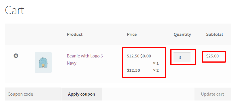 WooCommerce Buy 2 Get 1 Free For Variable Product - Cart page