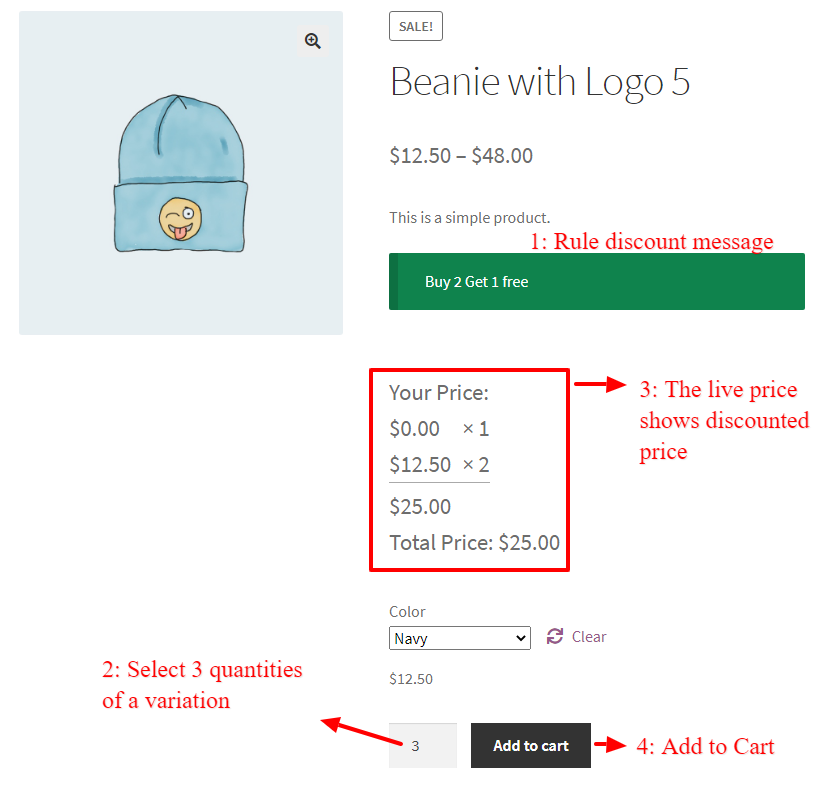 WooCommerce Buy 2 Get 1 Free For Variable Product - Product page