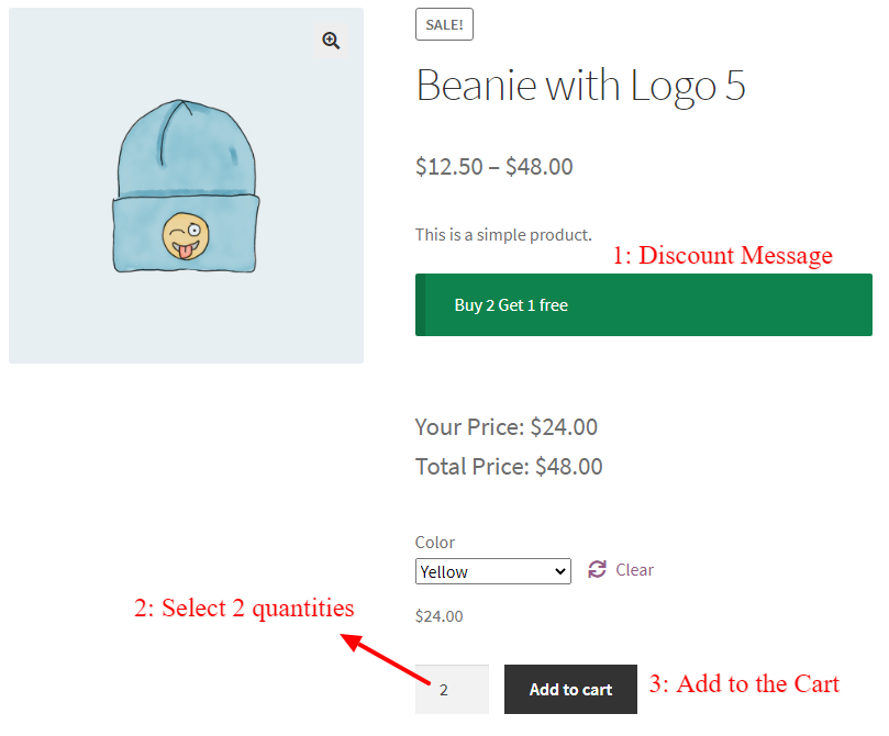 WooCommerce Buy 2 Get 1 Free For Variation Product