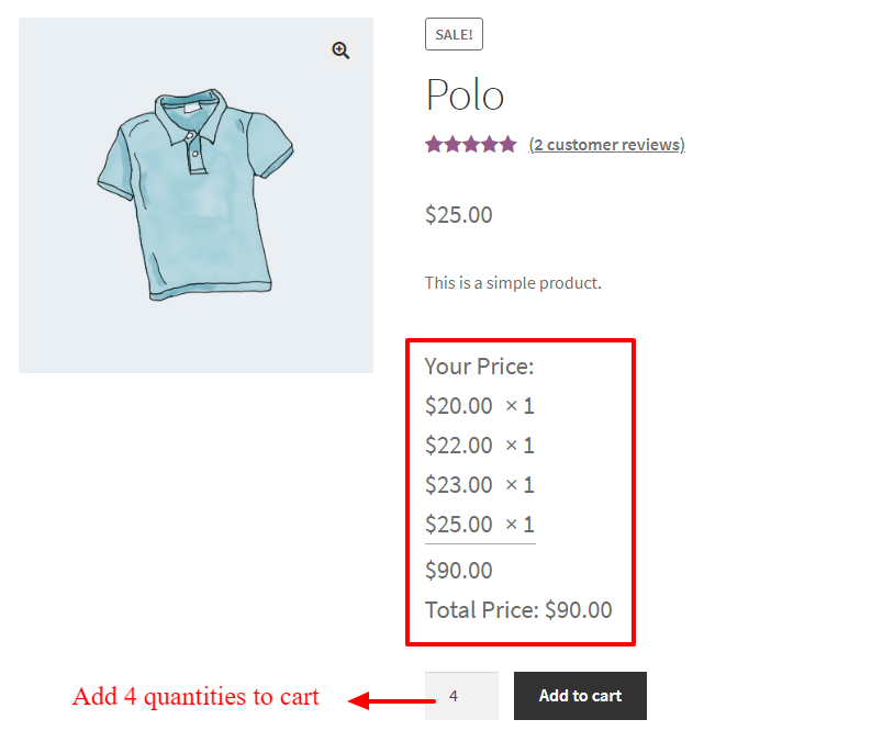 Tiered pricing for WooCommerce product