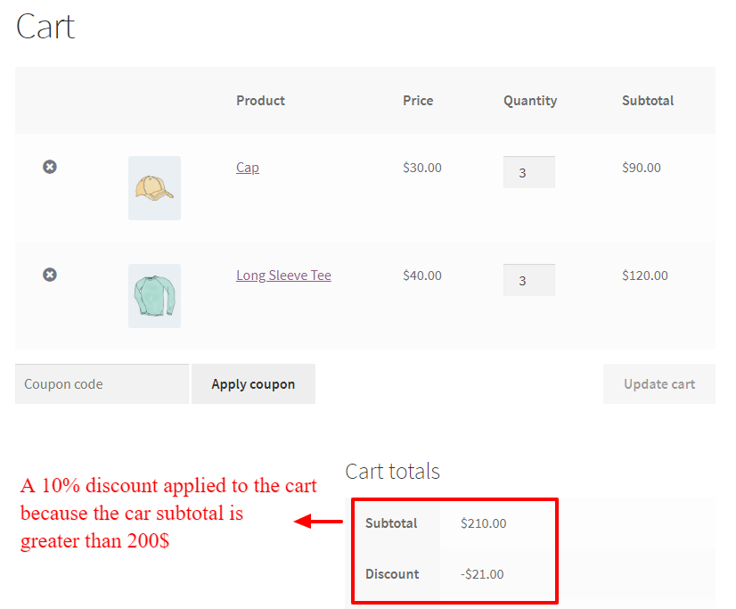 WooCommerce cart total based discount
