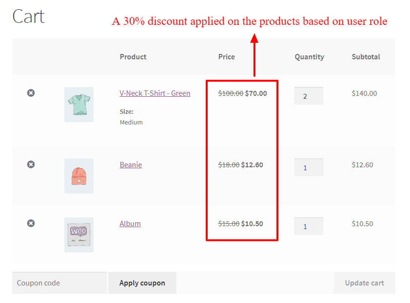 WooCommerce dynamic pricing based on user role in the cart