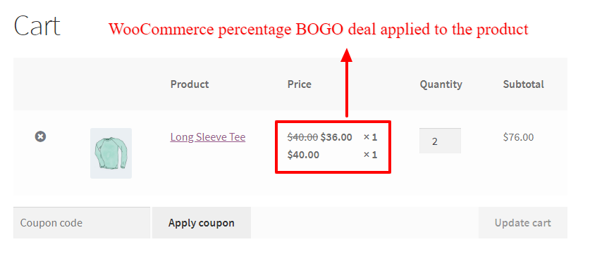WooCommerce BOGO percentage discount deal