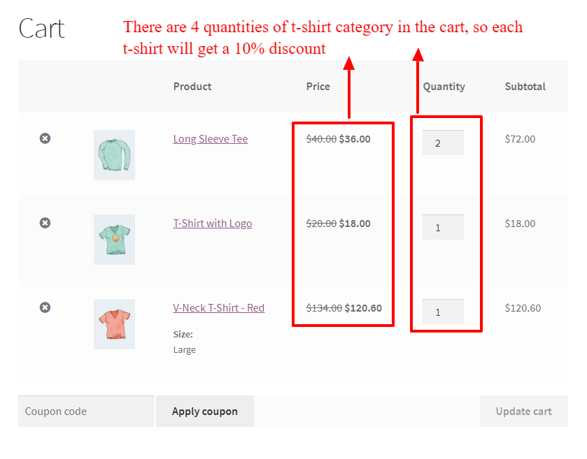 WooCommerce bulk quantity percentage discount in the cart