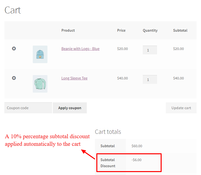 WooCommerce Percentage Discount on Cart Subtotal