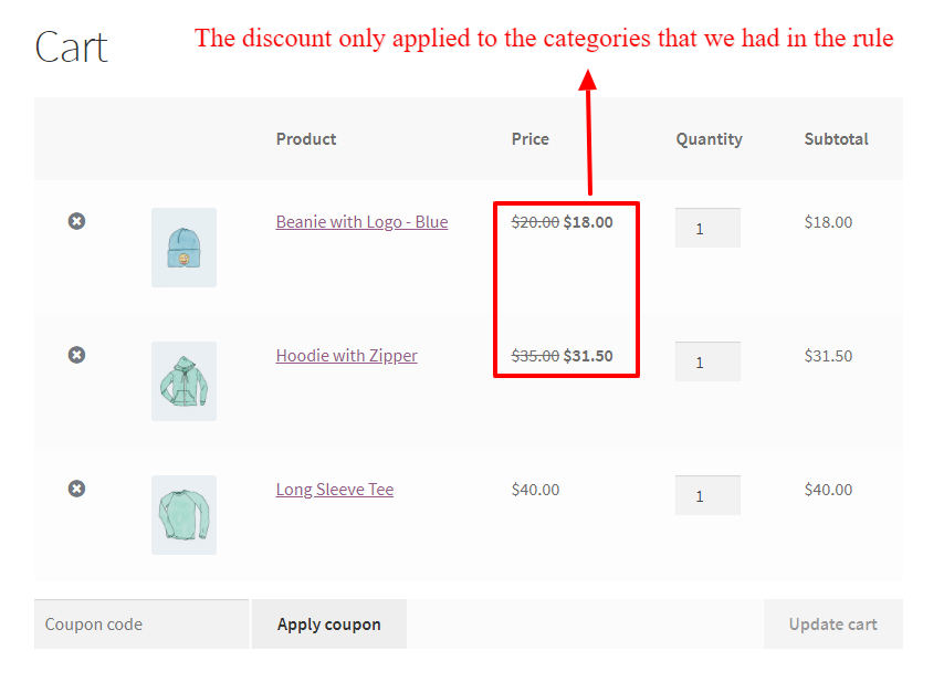 WooCommerce percentage discount on a category