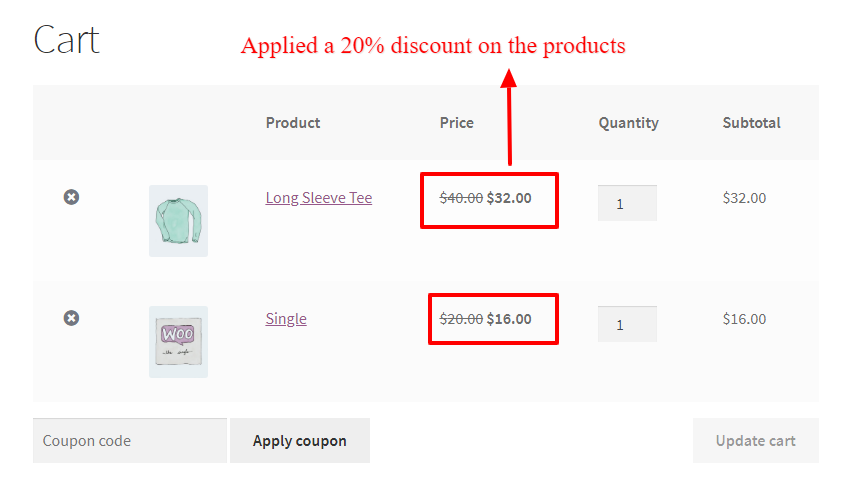 WooCommerce percentage discount on products inside the cart