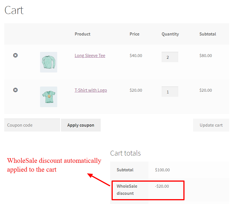 WooCommerce percentage discount based on user role in the cart