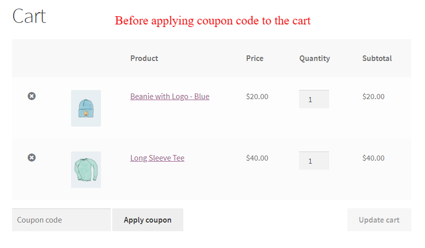 Before applying WooCommerce coupon code
