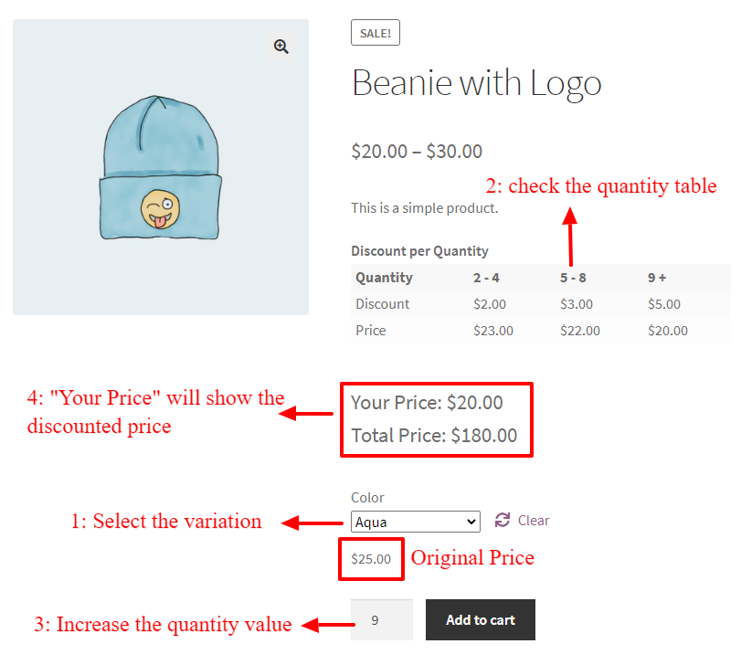How to Create Discounts for Product Variations in WooCommerce - quantity table
