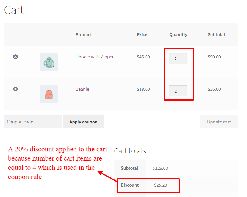Coupon based on number of cart items in WooCommerce