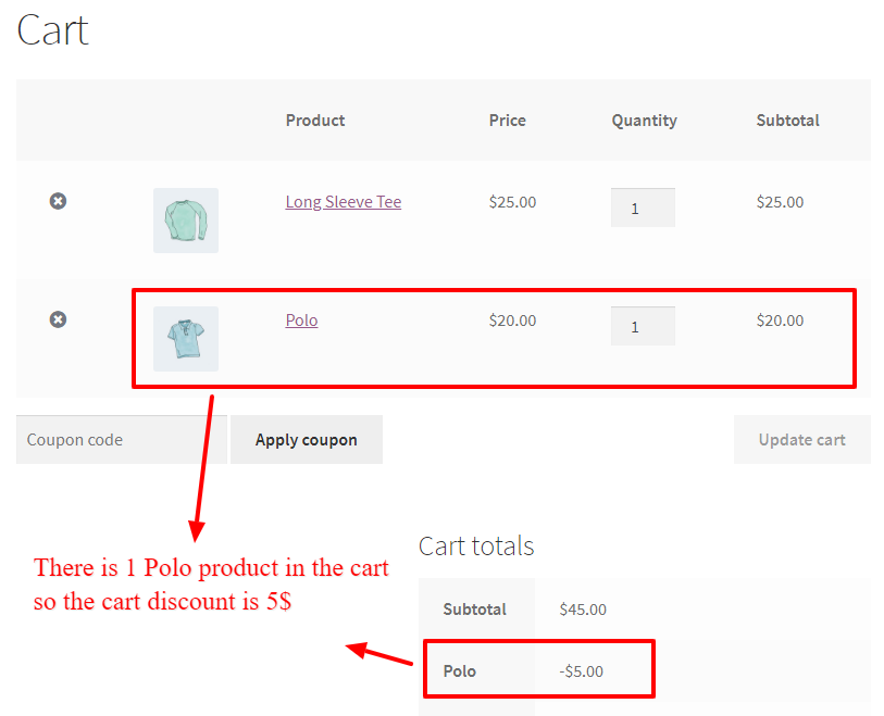 Coupon discount for product with WooCommerce Dynamic Pricing and Discounts Free Plugin