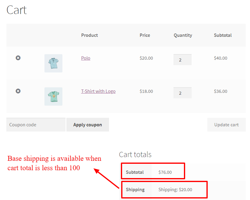 Regular shipping applied to the cart