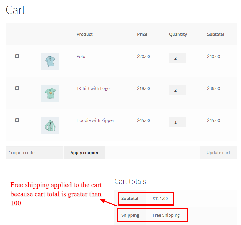 Free shipping applied to WooCommerce cart