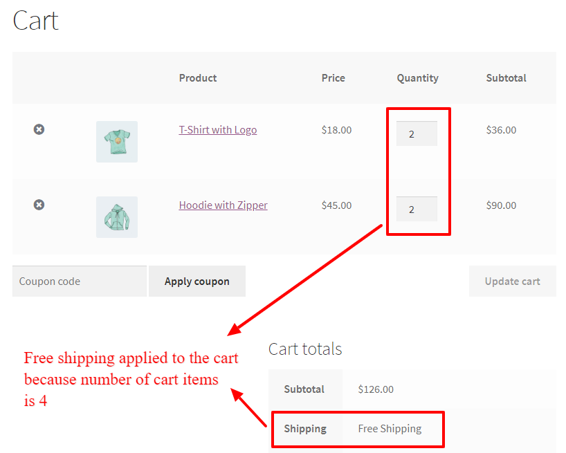 Free shipping applied to the cart based on number of cart items