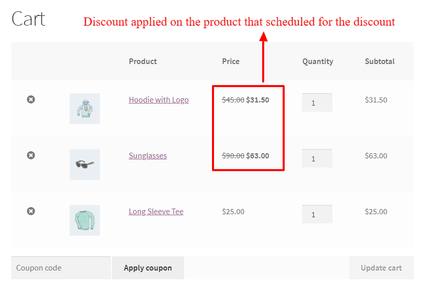 Scheduled discount applied on products in WooCommerce cart