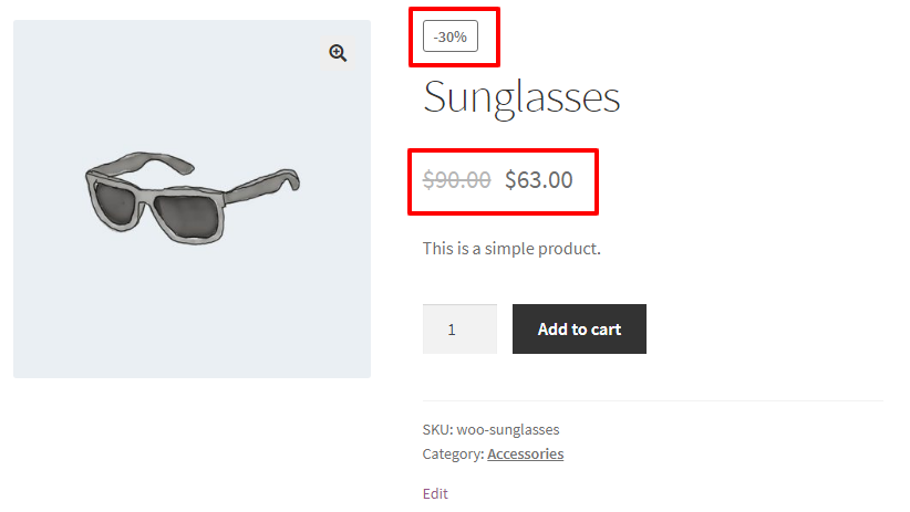 Scheduled sale price applied to the product in WooCommerce