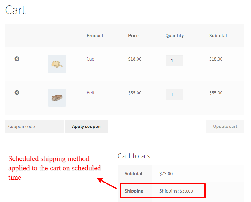Scheduled shipping method in the WooCommerce cart