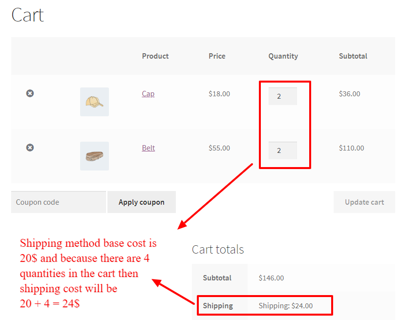 shipping cost per quantity in WooCommerce cart