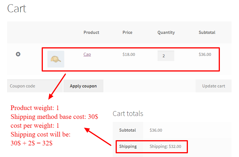 cost per weight added to shipping method cost in WooCommerce