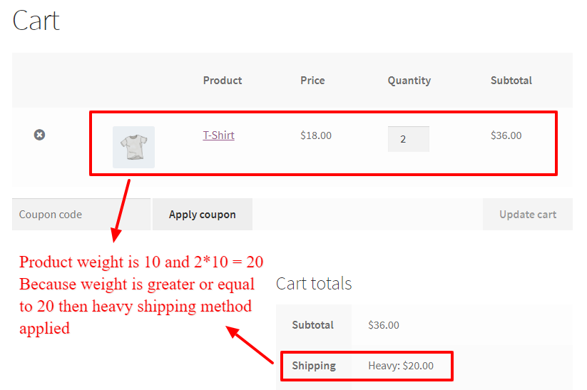 Shipping method for heavy items in WooCommerce