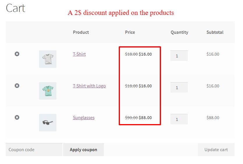 WooCommerce storewide price discount in cart