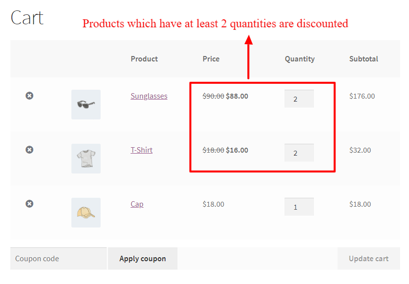 Storewide quantity based discount in WooCommerce cart