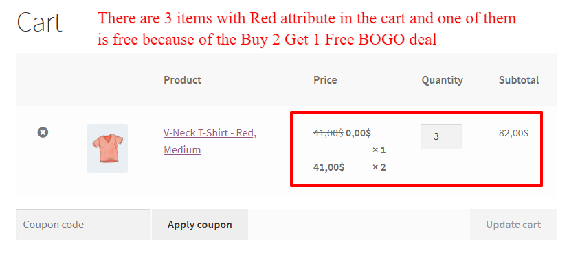 WooCommerce product attributes BOGO deal