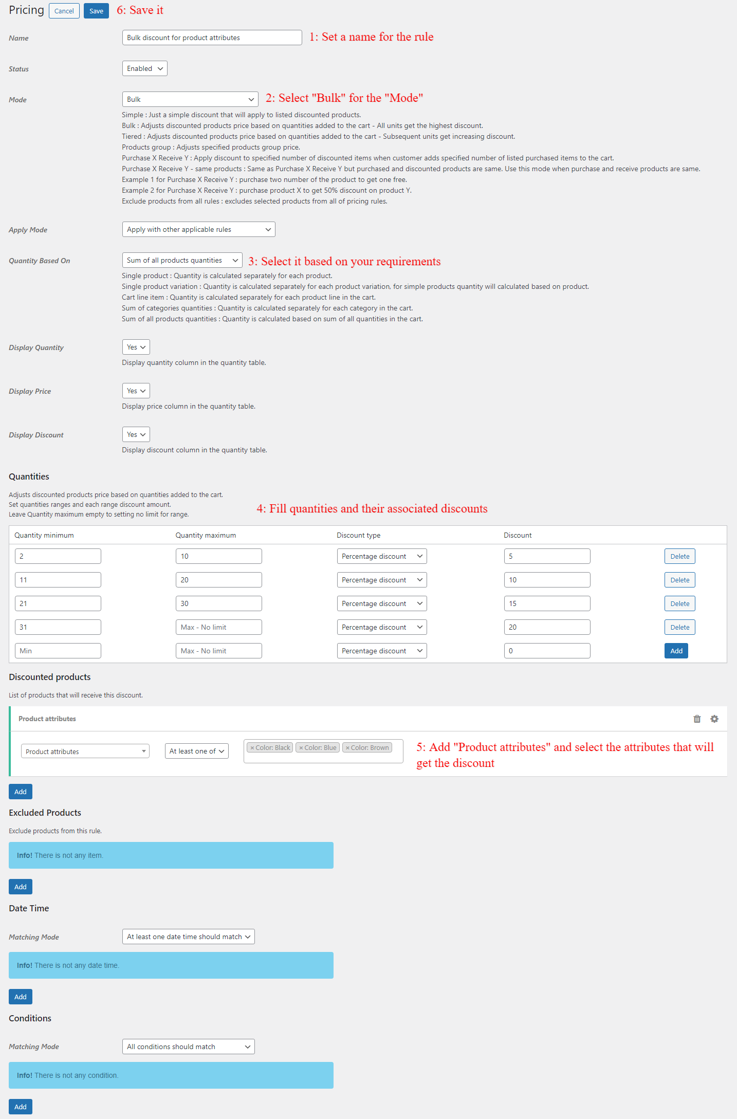 Bulk discount rule for WooCommerce product attributes