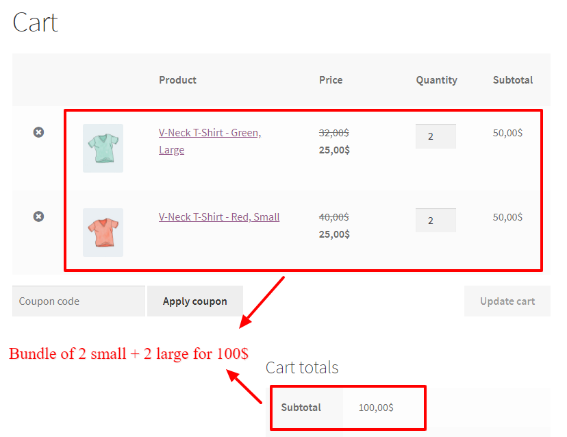 WooCommerce product attributes bundle price