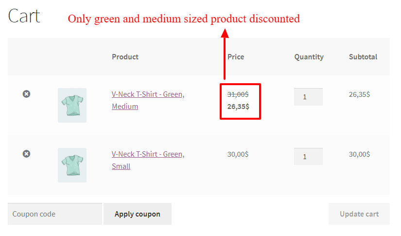 Discount for products have multiple attributes in WooCommerce