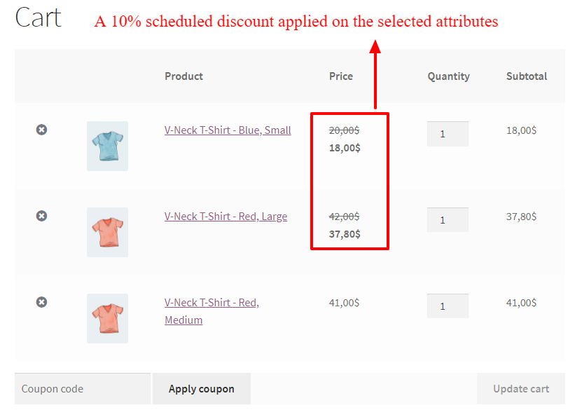 WooCommerce product attributes scheduled for sale