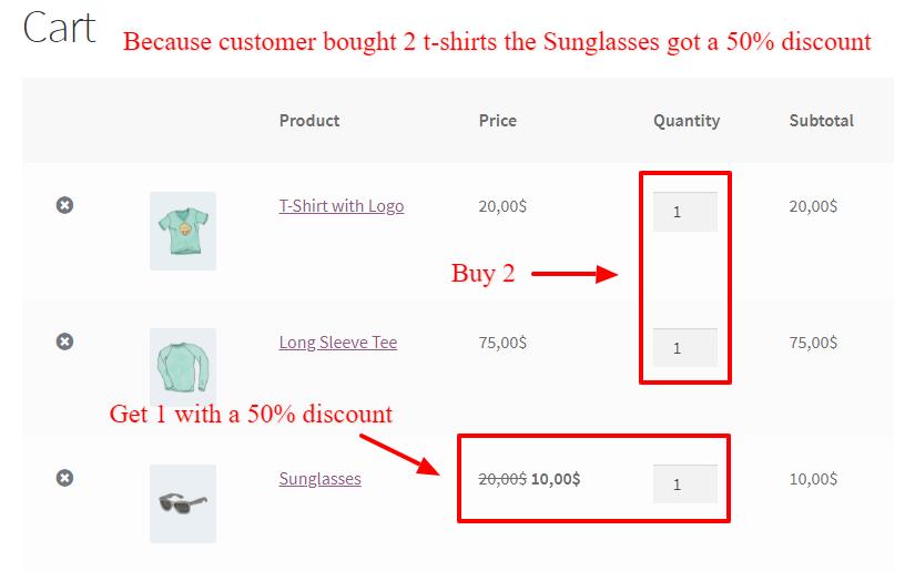 Different categories BOGO deal in WooCommerce