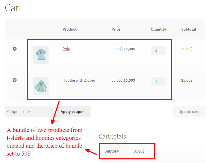 Category based bundle discount in WooCommerce