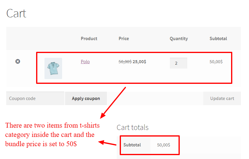 Category bundle discount in WooCommerce