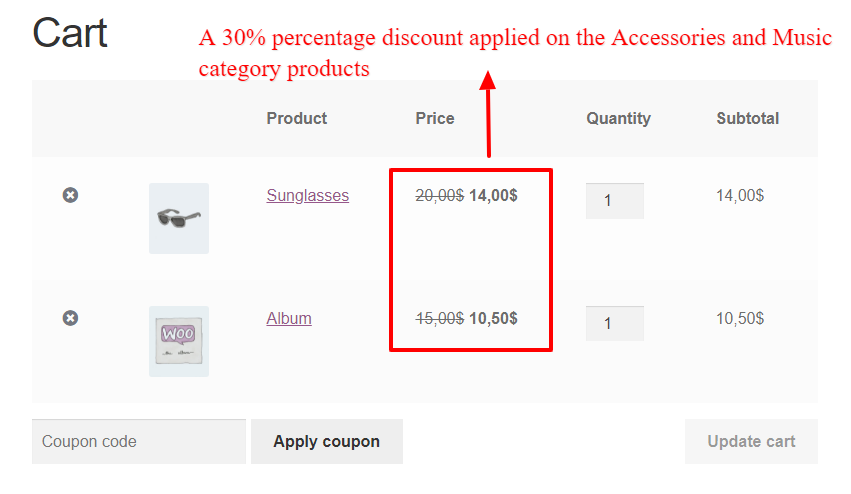 Discounting category products in WooCommerce