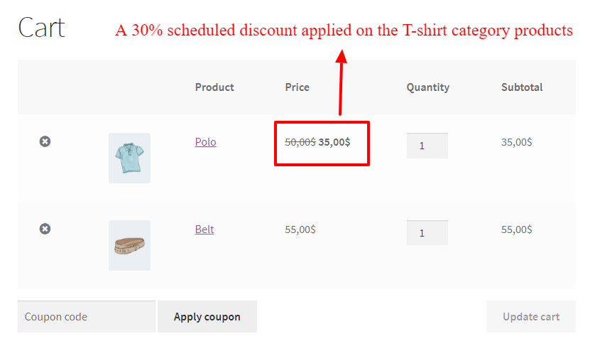 Category scheduled for sale in WooCommerce