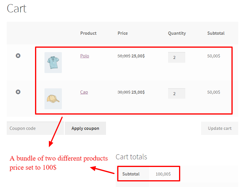 Product bundle price in WooCommerce