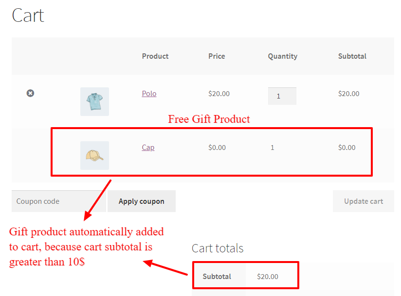 Auto add Free gift product to cart in WooCommerce